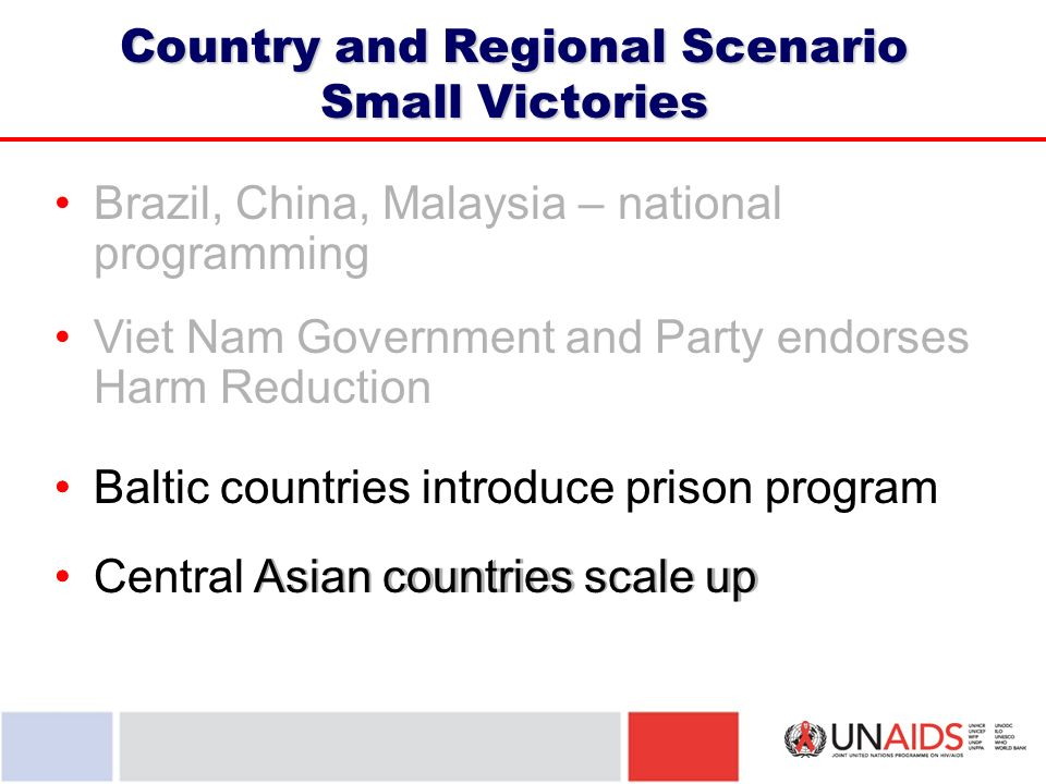 Brazil, China, Malaysia – national programming Viet Nam Government and Party endorses Harm Reduction Country and Regional Scenario Small Victories Baltic countries introduce prison program Central Asian countries scale up Baltic countries introduce prison program Central Asian countries scale up