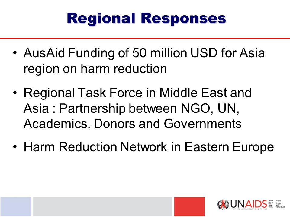 Regional Responses AusAid Funding of 50 million USD for Asia region on harm reduction Regional Task Force in Middle East and Asia : Partnership between NGO, UN, Academics.