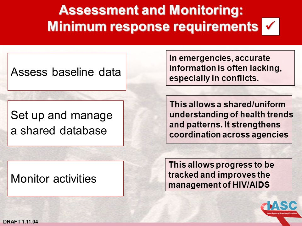 DRAFT 1.11.04 Assessment and Monitoring: Minimum response requirements In emergencies, accurate information is often lacking, especially in conflicts.
