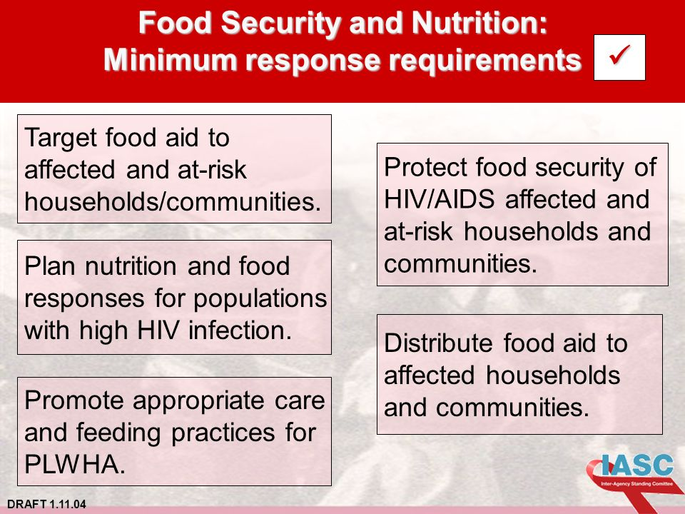 DRAFT 1.11.04 Food Security and Nutrition: Minimum response requirements Target food aid to affected and at-risk households/communities.