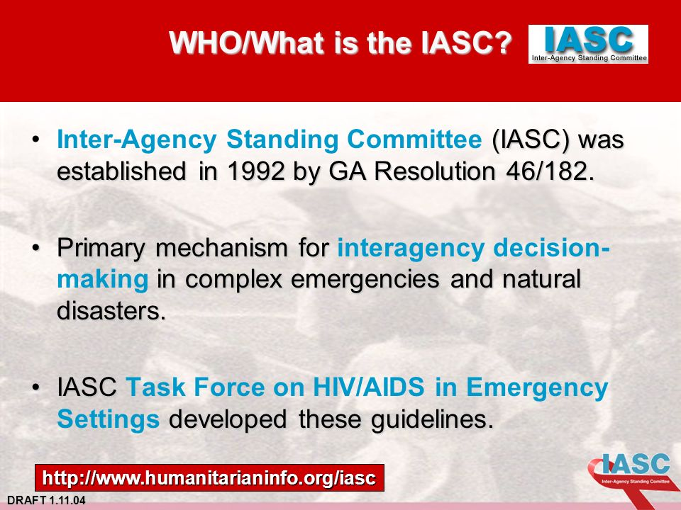 DRAFT 1.11.04 WHO/What is the IASC.