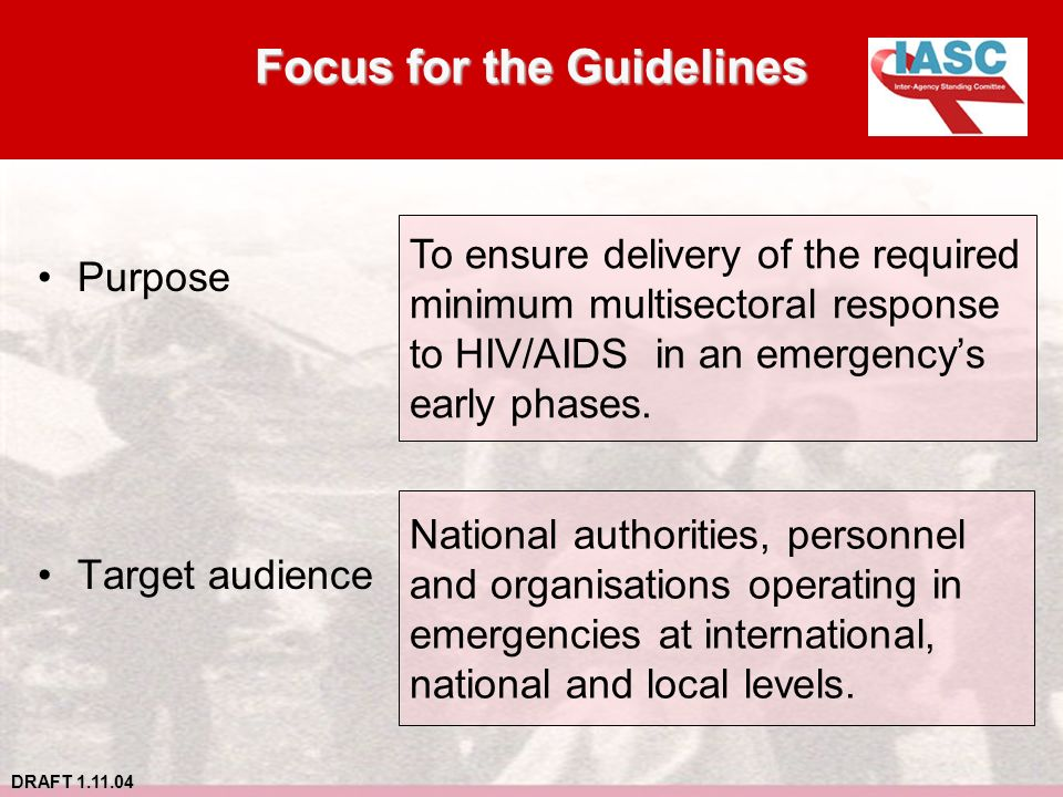 DRAFT 1.11.04 Focus for the Guidelines Purpose Target audience To ensure delivery of the required minimum multisectoral response to HIV/AIDS in an emergencys early phases.