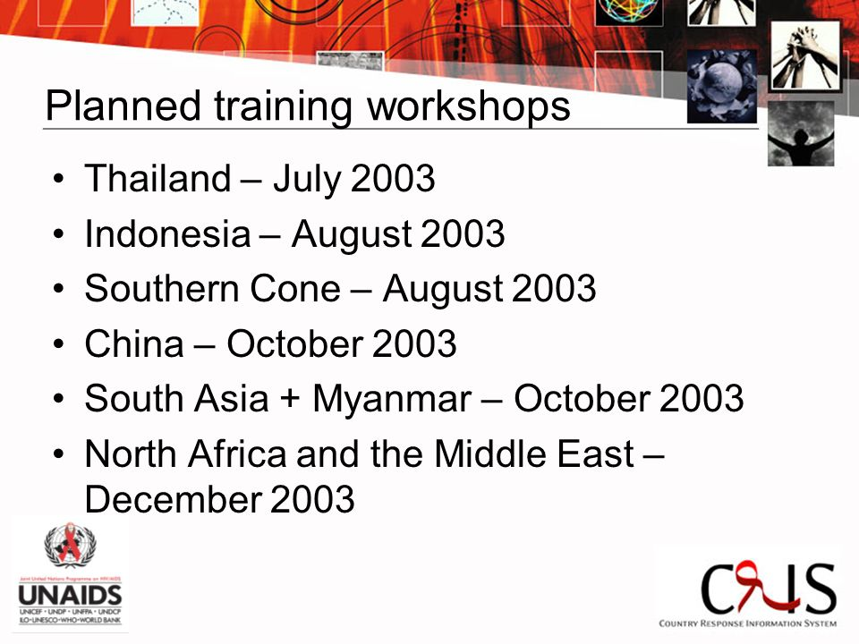 Planned training workshops Thailand – July 2003 Indonesia – August 2003 Southern Cone – August 2003 China – October 2003 South Asia + Myanmar – Octobe
