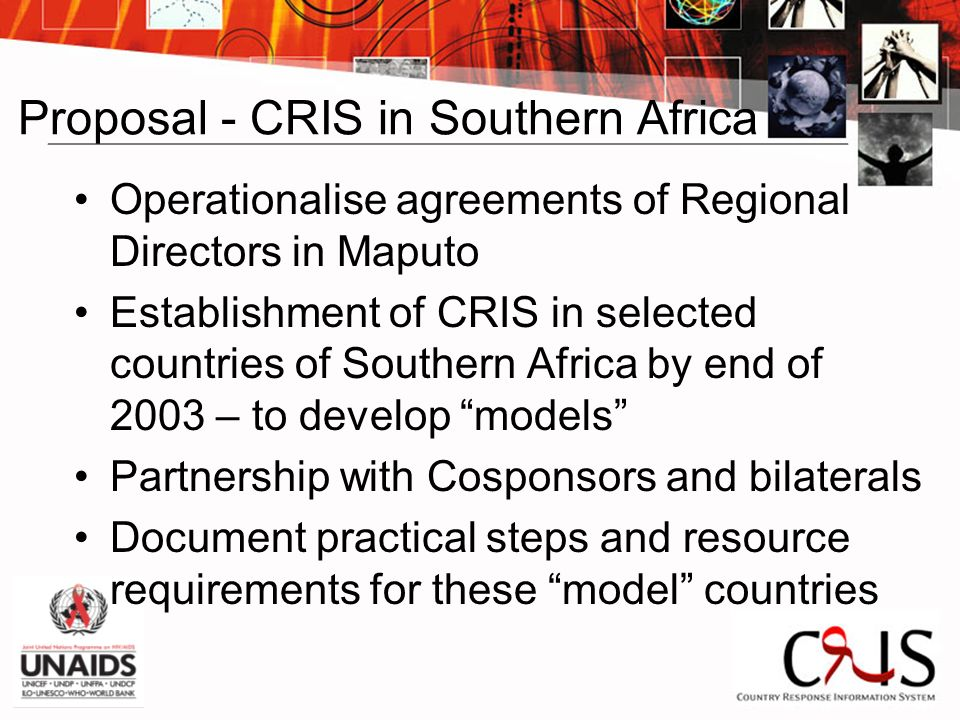 Proposal - CRIS in Southern Africa Operationalise agreements of Regional Directors in Maputo Establishment of CRIS in selected countries of Southern Africa by end of 2003 – to develop models Partnership with Cosponsors and bilaterals Document practical steps and resource requirements for these model countries