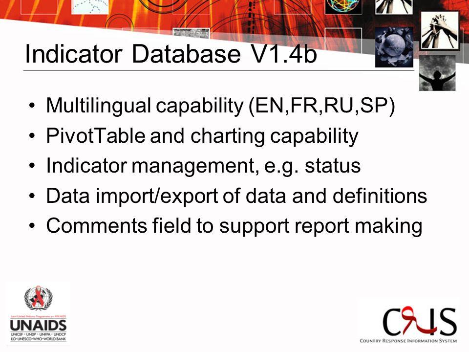 Indicator Database V1.4b Multilingual capability (EN,FR,RU,SP) PivotTable and charting capability Indicator management, e.g.