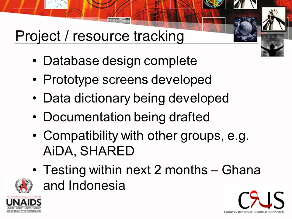 Project / resource tracking Database design complete Prototype screens developed Data dictionary being developed Documentation being drafted Compatibility with other groups, e.g.