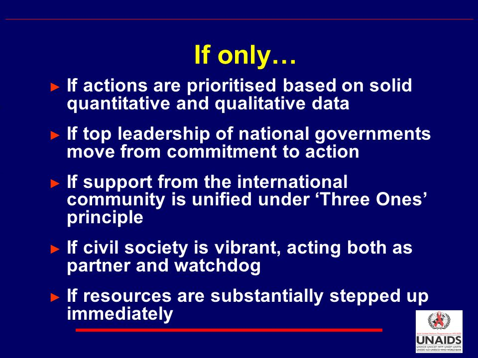 If actions are prioritised based on solid quantitative and qualitative data If top leadership of national governments move from commitment to action If support from the international community is unified under Three Ones principle If civil society is vibrant, acting both as partner and watchdog If resources are substantially stepped up immediately If only…