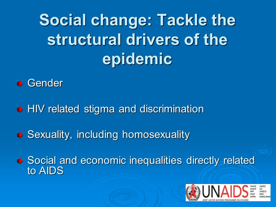 Social change: Tackle the structural drivers of the epidemic Gender HIV related stigma and discrimination Sexuality, including homosexuality Social an