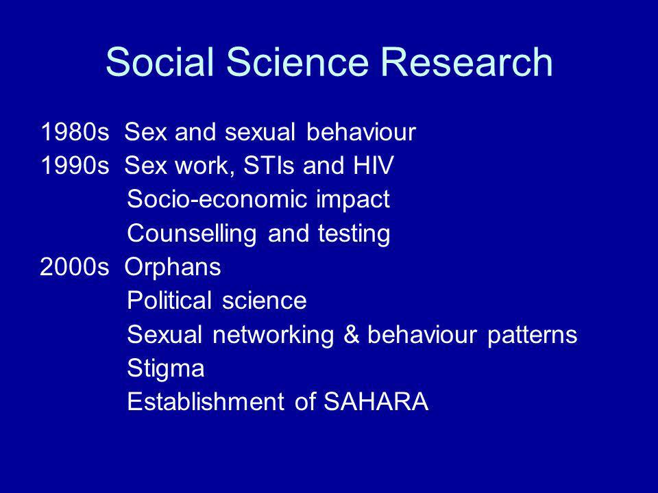 Social Science Research 1980s Sex and sexual behaviour 1990s Sex work, STIs and HIV Socio-economic impact Counselling and testing 2000s Orphans Political science Sexual networking & behaviour patterns Stigma Establishment of SAHARA