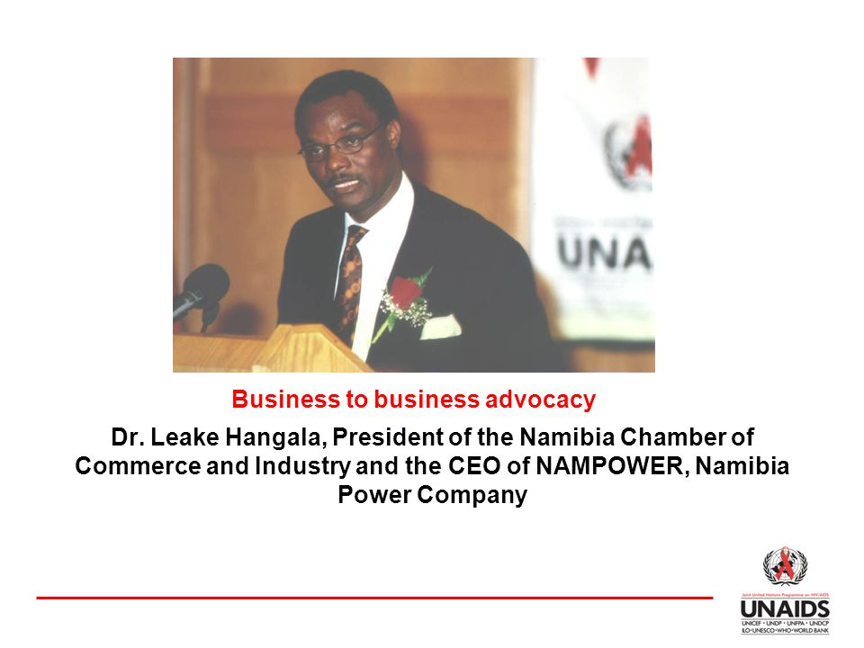 Dr. Leake Hangala, President of the Namibia Chamber of Commerce and Industry and the CEO of NAMPOWER, Namibia Power Company Business to business advoc