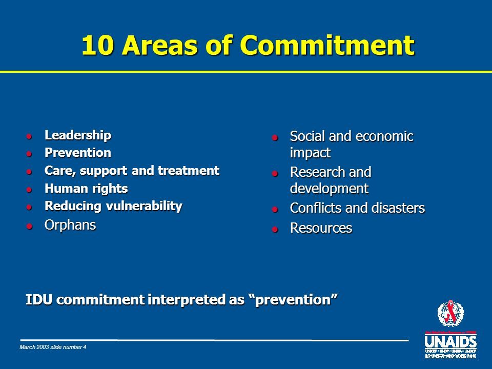 March 2003 slide number 4 10 Areas of Commitment l Leadership l Prevention l Care, support and treatment l Human rights l Reducing vulnerability l Orphans IDU commitment interpreted as prevention l Social and economic impact l Research and development l Conflicts and disasters l Resources