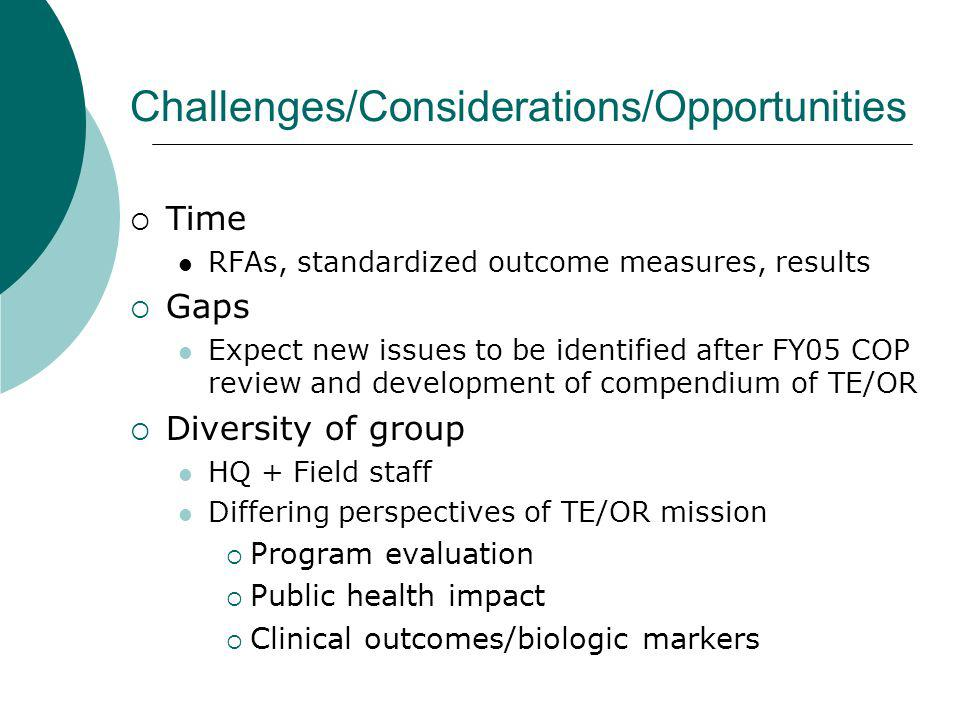 Challenges/Considerations/Opportunities Time RFAs, standardized outcome measures, results Gaps Expect new issues to be identified after FY05 COP review and development of compendium of TE/OR Diversity of group HQ + Field staff Differing perspectives of TE/OR mission Program evaluation Public health impact Clinical outcomes/biologic markers