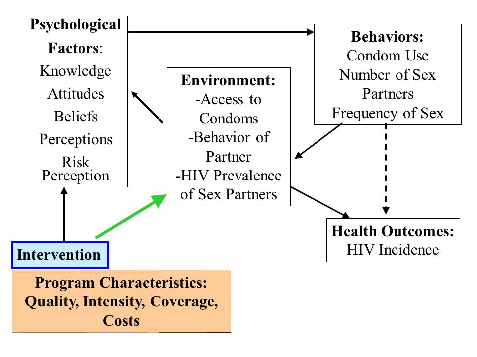 Psychological Factors: Knowledge Attitudes Beliefs Perceptions Risk Perception Environment: -Access to Condoms -Behavior of Partner -HIV Prevalence of