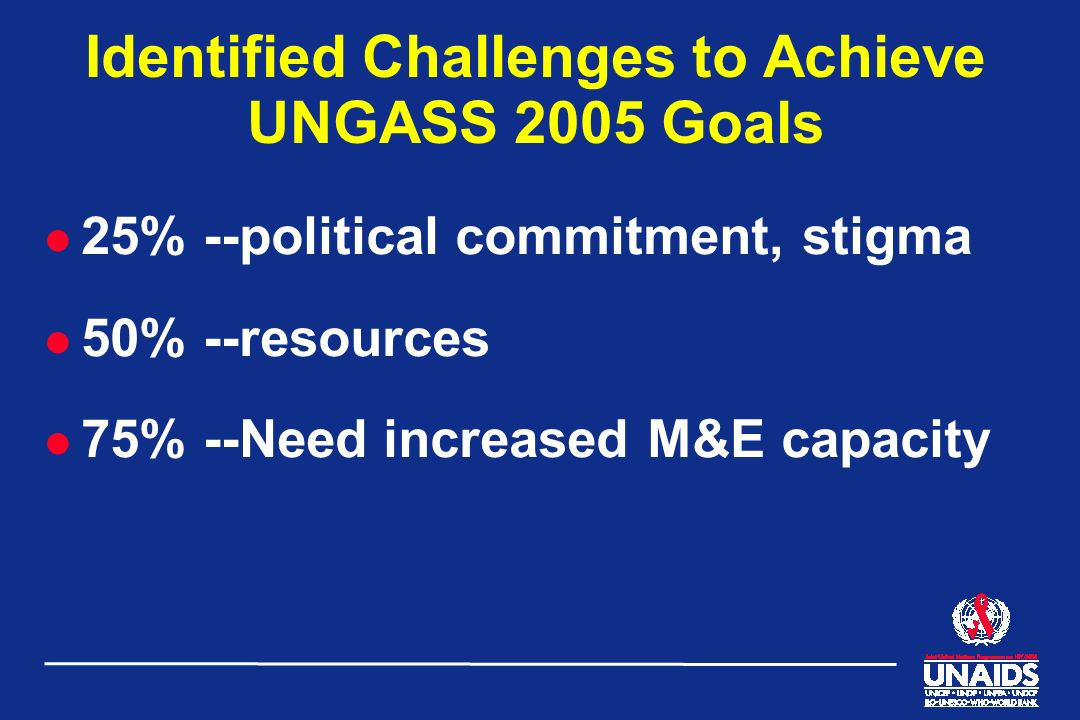 Identified Challenges to Achieve UNGASS 2005 Goals l 25% --political commitment, stigma l 50% --resources l 75% --Need increased M&E capacity