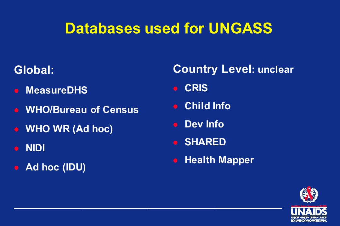 Databases used for UNGASS Global: l MeasureDHS l WHO/Bureau of Census l WHO WR (Ad hoc) l NIDI l Ad hoc (IDU) Country Level : unclear l CRIS l Child I