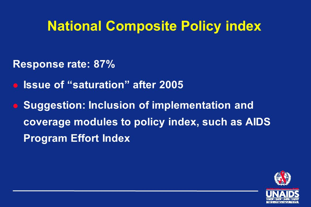 National Composite Policy index Response rate: 87% l Issue of saturation after 2005 l Suggestion: Inclusion of implementation and coverage modules to