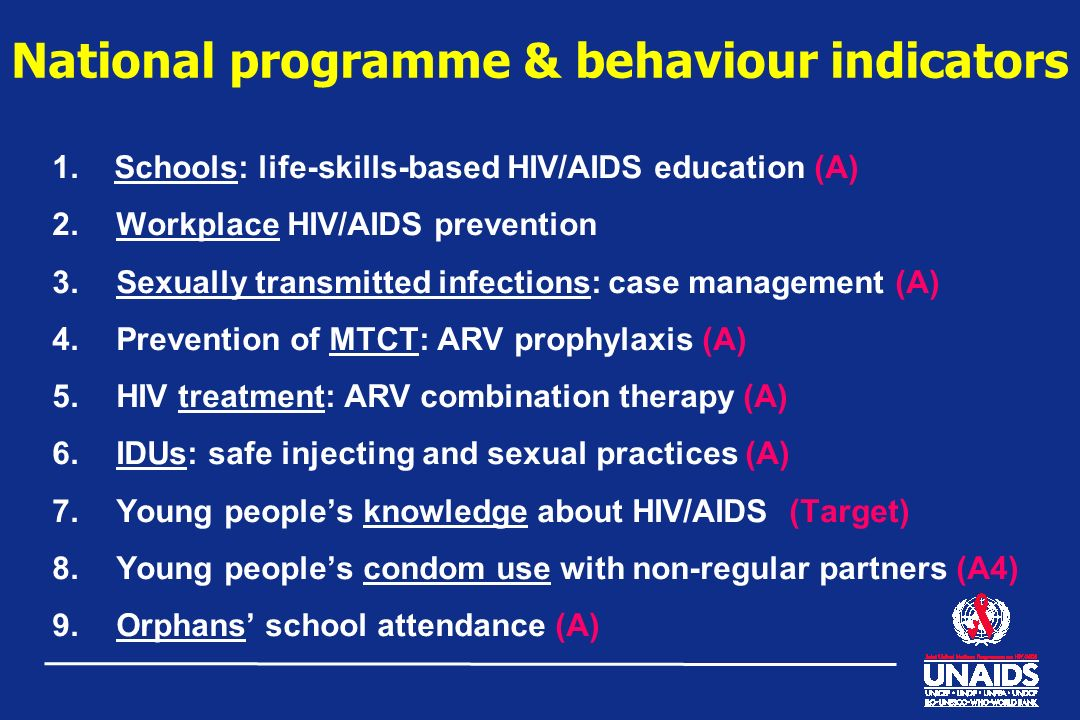 National programme & behaviour indicators 1. Schools: life-skills-based HIV/AIDS education (A) 2.Workplace HIV/AIDS prevention 3.Sexually transmitted