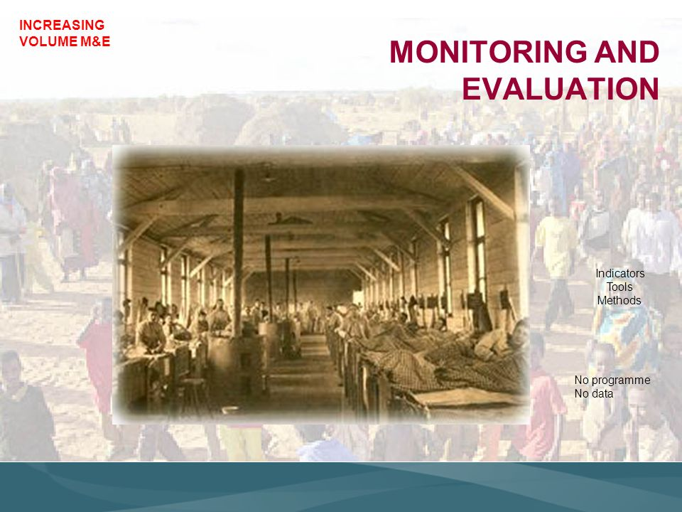 INCREASING VOLUME M&E MONITORING AND EVALUATION Indicators Tools Methods No programme No data