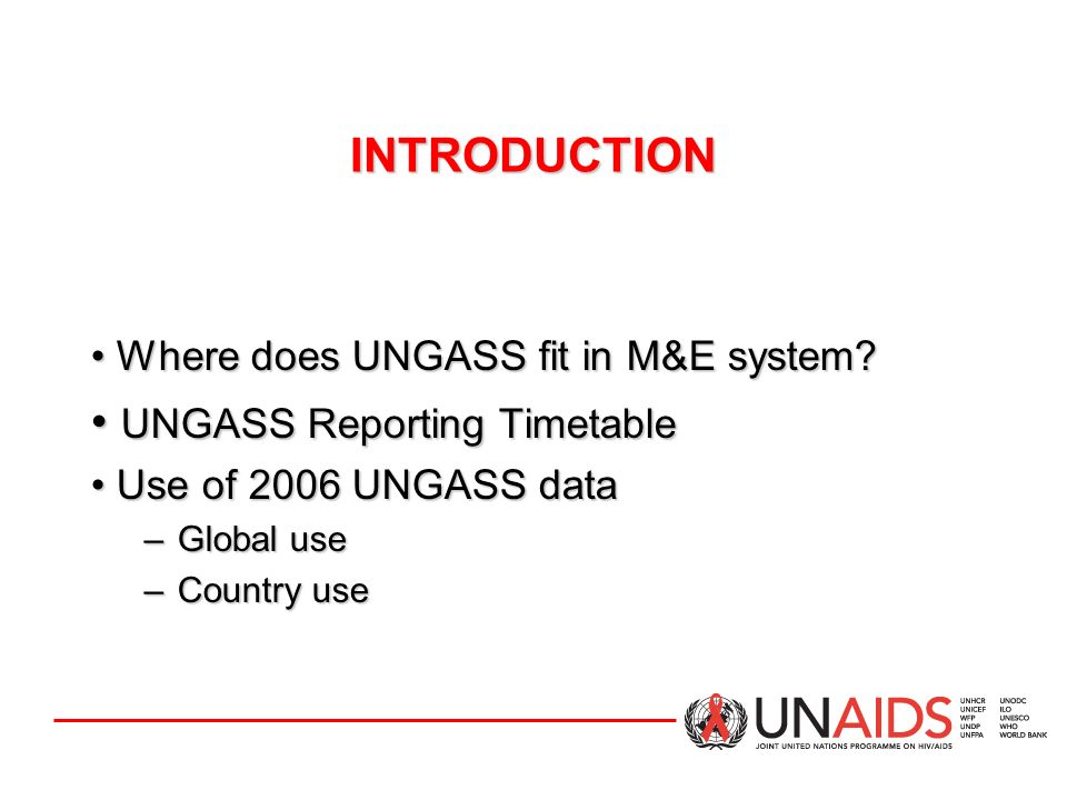 The following inputs are paramount for improving the quality of the data obtained from countries: –Revise UNGASS indicators, where necessary –Provide clear and specific Guidelines –Provide user-friendly, flexible CRIS software –Provide training on UNGASS indicators & reporting process –Provide technical support, where needed LESSONS LEARNED FROM 2006 REPORTING UNAIDS/Geneva-level