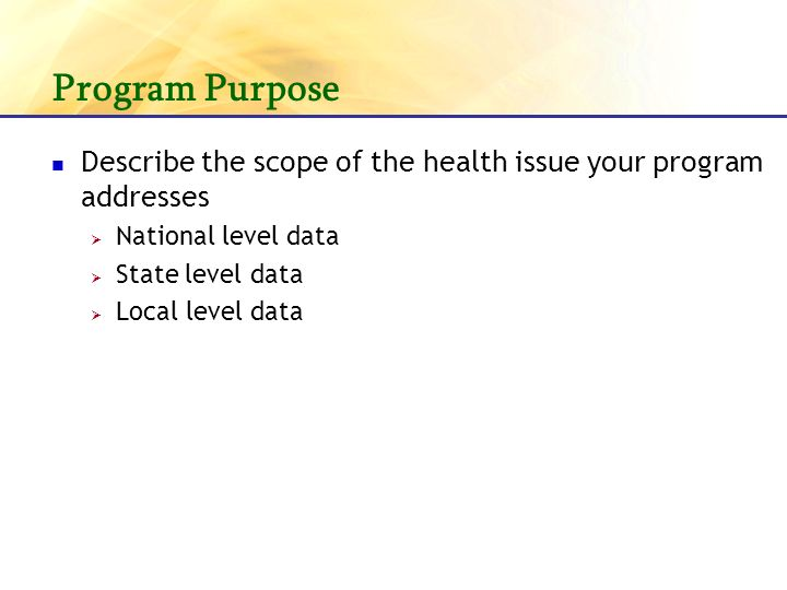 Program Purpose Describe the scope of the health issue your program addresses National level data State level data Local level data