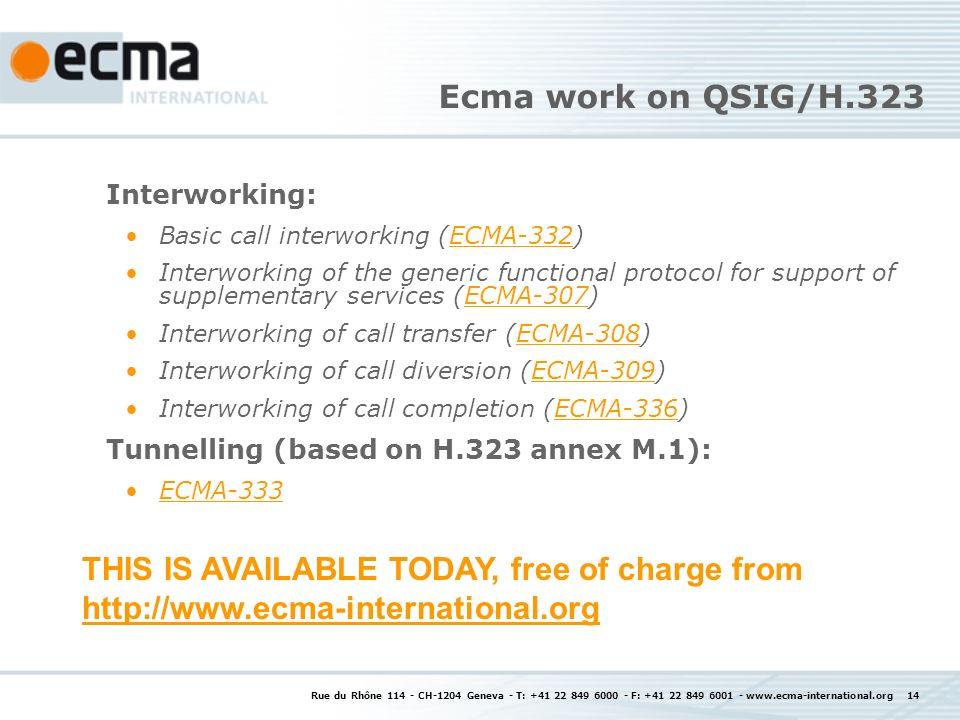 Rue du Rhône 114 - CH-1204 Geneva - T: +41 22 849 6000 - F: +41 22 849 6001 - www.ecma-international.org 14 Ecma work on QSIG/H.323 Interworking: Basi
