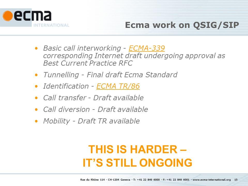 Rue du Rhône 114 - CH-1204 Geneva - T: +41 22 849 6000 - F: +41 22 849 6001 - www.ecma-international.org 15 Ecma work on QSIG/SIP Basic call interwork