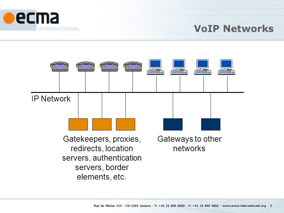 Rue du Rhône 114 - CH-1204 Geneva - T: +41 22 849 6000 - F: +41 22 849 6001 - www.ecma-international.org 3 VoIP Networks IP Network Gatekeepers, proxi