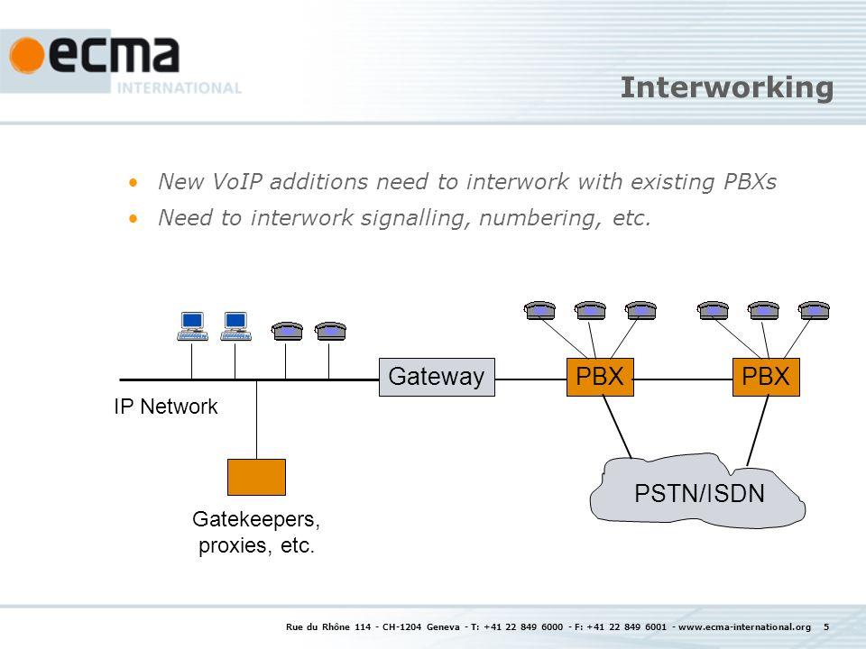 Rue du Rhône 114 - CH-1204 Geneva - T: +41 22 849 6000 - F: +41 22 849 6001 - www.ecma-international.org 5 Interworking New VoIP additions need to int