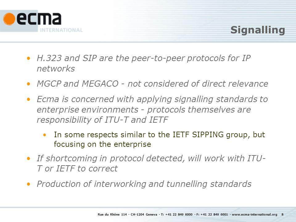 Rue du Rhône 114 - CH-1204 Geneva - T: +41 22 849 6000 - F: +41 22 849 6001 - www.ecma-international.org 8 Signalling H.323 and SIP are the peer-to-pe