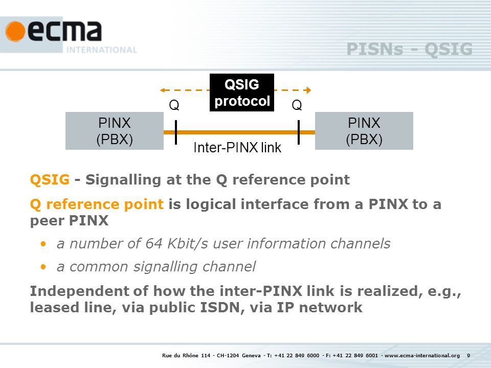 Rue du Rhône CH-1204 Geneva - T: F: PISNs - QSIG QSIG - Signalling at the Q reference point Q reference point is logical interface from a PINX to a peer PINX a number of 64 Kbit/s user information channels a common signalling channel Independent of how the inter-PINX link is realized, e.g., leased line, via public ISDN, via IP network PINX (PBX) QQ Inter-PINX link QSIG protocol