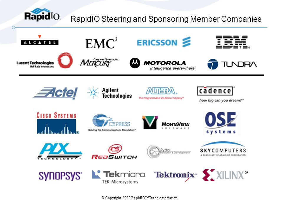 © Copyright 2002 RapidIOTrade Association RapidIO Steering and Sponsoring Member Companies