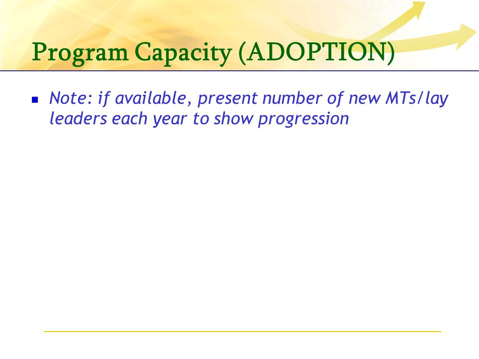 Program Capacity (ADOPTION) Note: if available, present number of new MTs/lay leaders each year to show progression