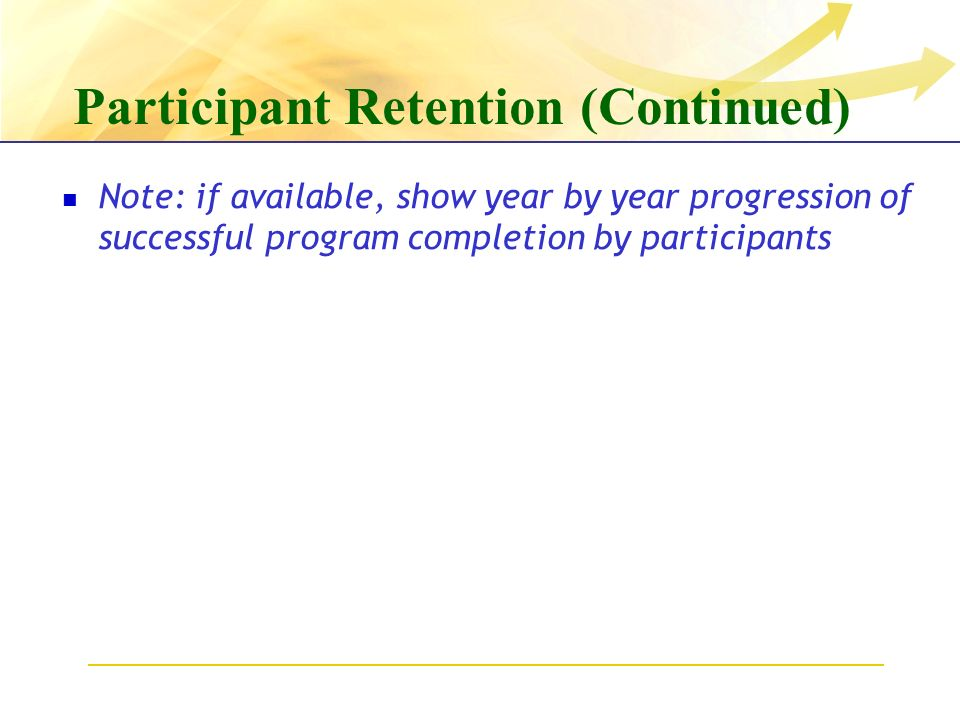 Participant Retention (Continued) Note: if available, show year by year progression of successful program completion by participants