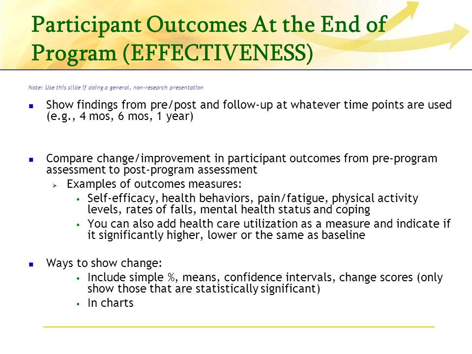 Participant Outcomes At the End of Program (EFFECTIVENESS) Note: Use this slide if doing a general, non-research presentation Show findings from pre/post and follow-up at whatever time points are used (e.g., 4 mos, 6 mos, 1 year) Compare change/improvement in participant outcomes from pre-program assessment to post-program assessment Examples of outcomes measures: Self-efficacy, health behaviors, pain/fatigue, physical activity levels, rates of falls, mental health status and coping You can also add health care utilization as a measure and indicate if it significantly higher, lower or the same as baseline Ways to show change: Include simple %, means, confidence intervals, change scores (only show those that are statistically significant) In charts
