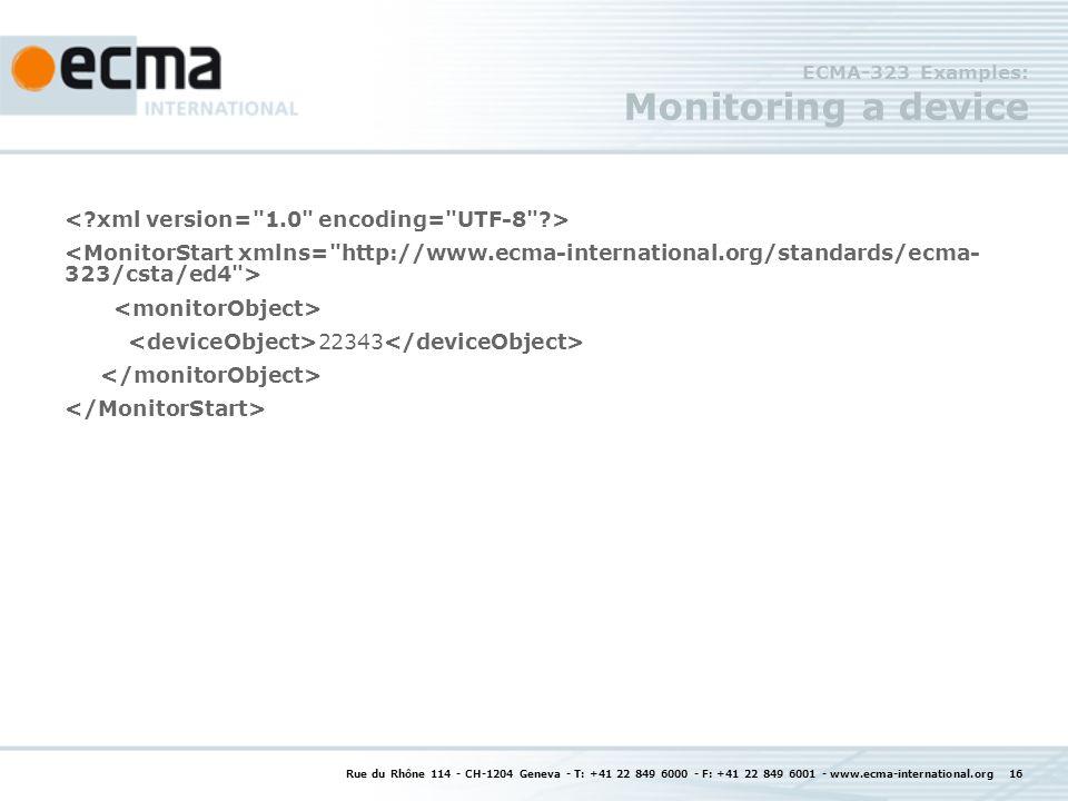 Rue du Rhône 114 - CH-1204 Geneva - T: +41 22 849 6000 - F: +41 22 849 6001 - www.ecma-international.org 16 ECMA-323 Examples: Monitoring a device 22343