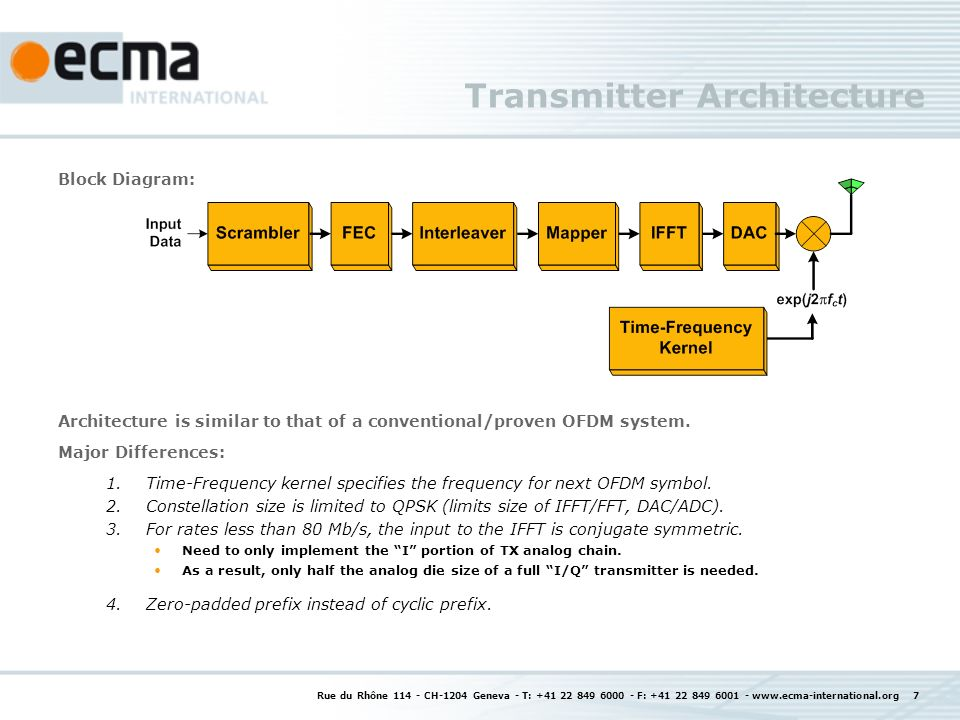 Rue du Rhône 114 - CH-1204 Geneva - T: +41 22 849 6000 - F: +41 22 849 6001 - www.ecma-international.org 7 Transmitter Architecture Block Diagram: Architecture is similar to that of a conventional/proven OFDM system.