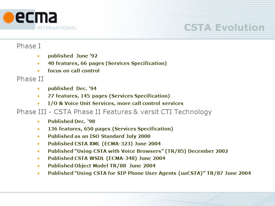 CSTA Evolution Phase I published June features, 66 pages (Services Specification) focus on call control Phase II published Dec.