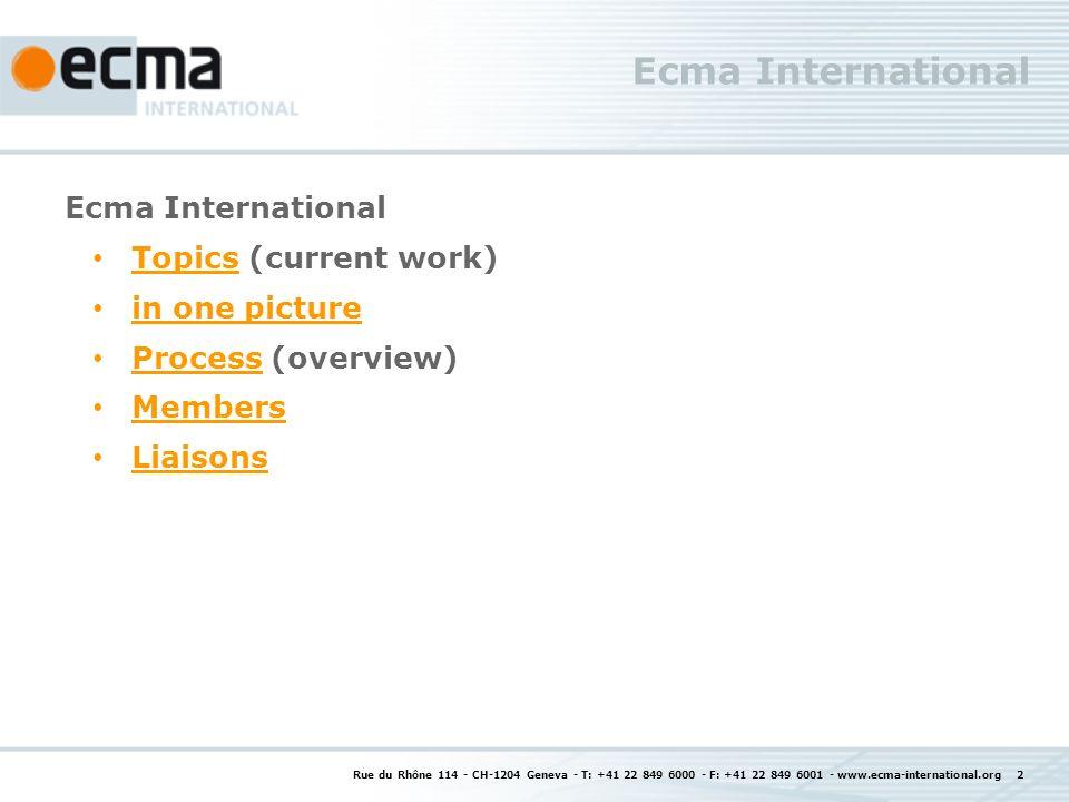 Rue du Rhône 114 - CH-1204 Geneva - T: +41 22 849 6000 - F: +41 22 849 6001 - www.ecma-international.org 2 Ecma International Topics (current work) To