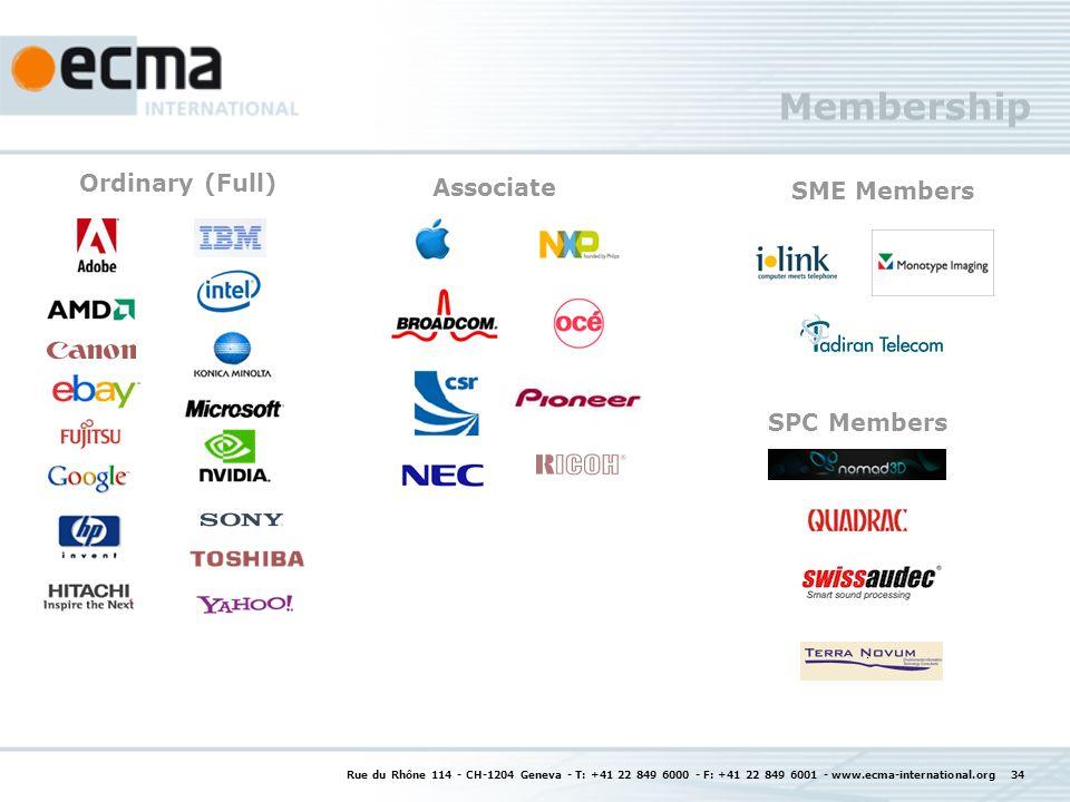 Membership Rue du Rhône 114 - CH-1204 Geneva - T: +41 22 849 6000 - F: +41 22 849 6001 - www.ecma-international.org 34 Associate SPC Members Ordinary