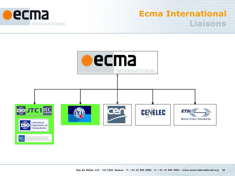 Rue du Rhône 114 - CH-1204 Geneva - T: +41 22 849 6000 - F: +41 22 849 6001 - www.ecma-international.org 36 Ecma International Liaisons