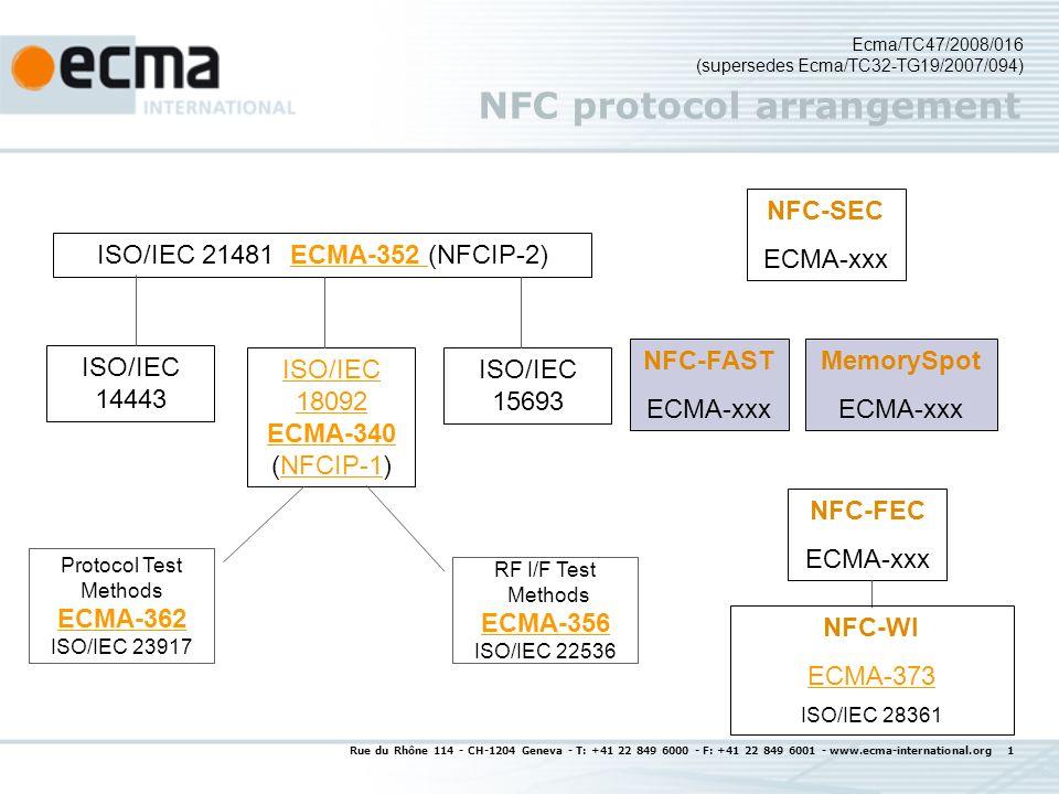 Rue du Rhône 114 - CH-1204 Geneva - T: +41 22 849 6000 - F: +41 22 849 6001 - www.ecma-international.org 1 NFC protocol arrangement ISO/IEC 21481 ECMA-352 (NFCIP-2)ECMA-352 ISO/IEC 18092 ECMA-340 ECMA-340 (NFCIP-1)NFCIP-1 ISO/IEC 14443 ISO/IEC 15693 Ecma/TC47/2008/016 (supersedes Ecma/TC32-TG19/2007/094) NFC-FEC ECMA-xxx NFC-SEC ECMA-xxx RF I/F Test Methods ECMA-356 ECMA-356 ISO/IEC 22536 Protocol Test Methods ECMA-362 ECMA-362 ISO/IEC 23917 NFC-FAST ECMA-xxx MemorySpot ECMA-xxx NFC-WI ECMA-373 ISO/IEC 28361