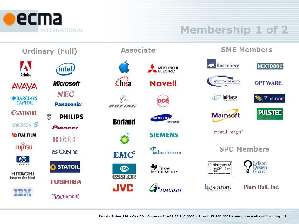 Rue du Rhône 114 - CH-1204 Geneva - T: +41 22 849 6000 - F: +41 22 849 6001 - www.ecma-international.org 3 Membership 1 of 2 Associate SME Members SPC Members Ordinary (Full)