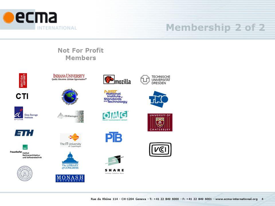 Rue du Rhône 114 - CH-1204 Geneva - T: +41 22 849 6000 - F: +41 22 849 6001 - www.ecma-international.org 4 Membership 2 of 2 CTI Not For Profit Members CTI