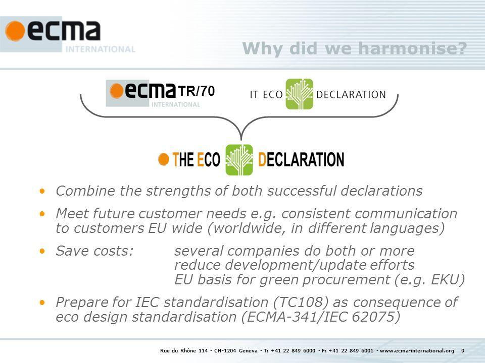 Rue du Rhône 114 - CH-1204 Geneva - T: +41 22 849 6000 - F: +41 22 849 6001 - www.ecma-international.org 9 Why did we harmonise.