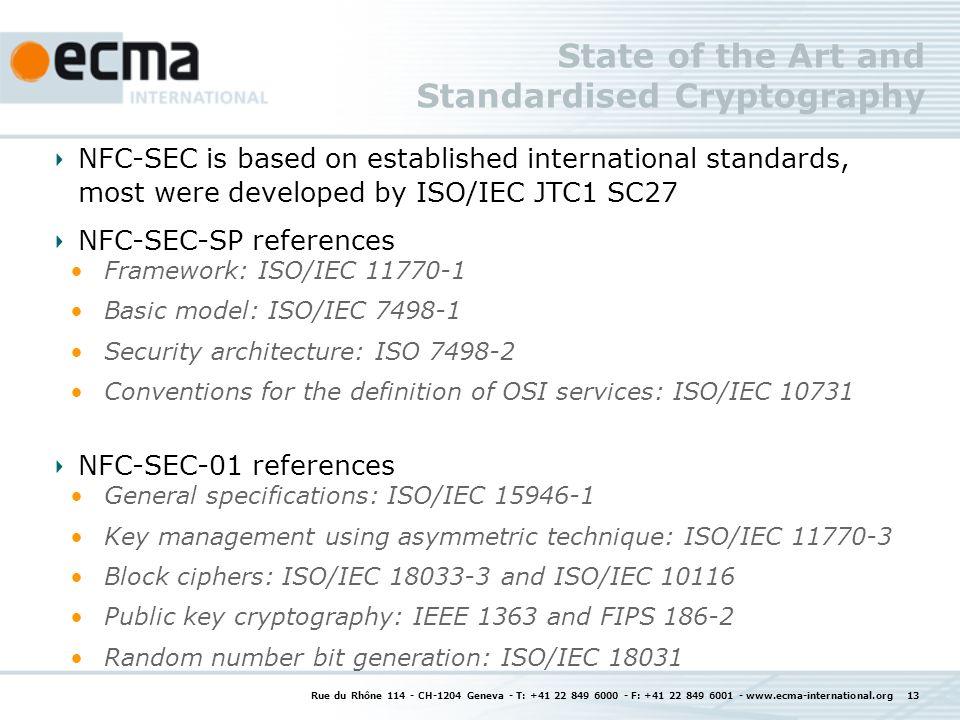 State of the Art and Standardised Cryptography Rue du Rhône 114 - CH-1204 Geneva - T: +41 22 849 6000 - F: +41 22 849 6001 - www.ecma-international.or