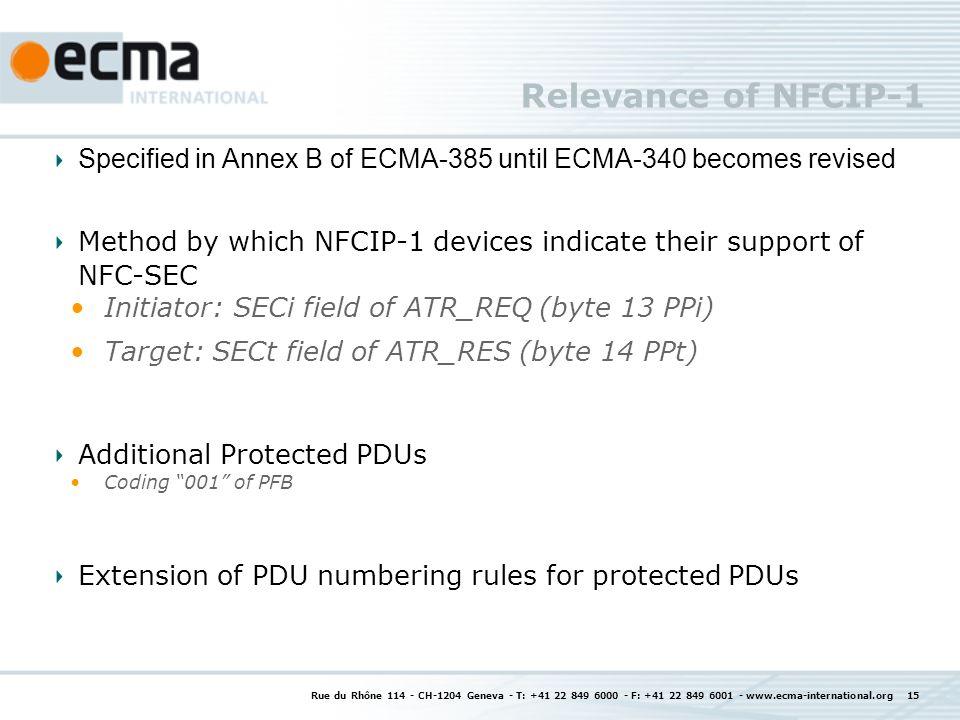 Relevance of NFCIP-1 Rue du Rhône 114 - CH-1204 Geneva - T: +41 22 849 6000 - F: +41 22 849 6001 - www.ecma-international.org 15 Specified in Annex B