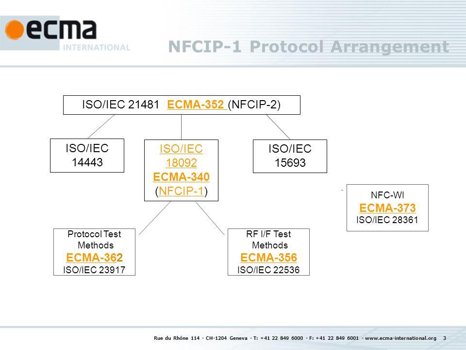 Rue du Rhône 114 - CH-1204 Geneva - T: +41 22 849 6000 - F: +41 22 849 6001 - www.ecma-international.org 3 NFCIP-1 Protocol Arrangement ISO/IEC 18092 ECMA-340 ECMA-340 (NFCIP-1)NFCIP-1 ISO/IEC 14443 ISO/IEC 15693 RF I/F Test Methods ECMA-356 ECMA-356 ISO/IEC 22536 ISO/IEC 21481 ECMA-352 (NFCIP-2)ECMA-352 Protocol Test Methods ECMA-362 ECMA-36 ISO/IEC 23917 NFC-WI ECMA-373 ISO/IEC 28361