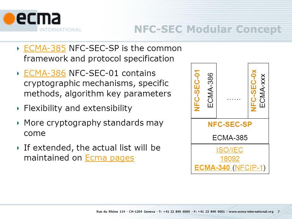 NFC-SEC Modular Concept Rue du Rhône 114 - CH-1204 Geneva - T: +41 22 849 6000 - F: +41 22 849 6001 - www.ecma-international.org 7 ECMA-385ECMA-385 NF
