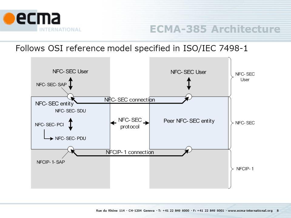 ECMA-385 Architecture Rue du Rhône 114 - CH-1204 Geneva - T: +41 22 849 6000 - F: +41 22 849 6001 - www.ecma-international.org 8 Follows OSI reference model specified in ISO/IEC 7498-1