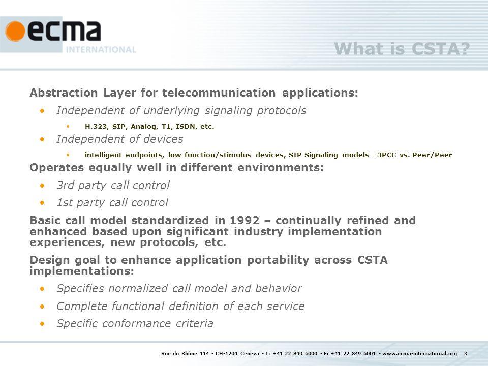 The ECMA-323 Standard XML Encoding for CSTA feature set Set of W3C XML Schemas One schema per service/event Contains XML encoding for all CSTA features standardized in ECMA-269 CSTA XML facilitates use of CSTA features by Internet developers – when combined with Scripting languages such as ECMAScript, it becomes very easy to use the CSTA XML interface directly ECMAScript Rue du Rhône 114 - CH-1204 Geneva - T: +41 22 849 6000 - F: +41 22 849 6001 - www.ecma-international.org 14